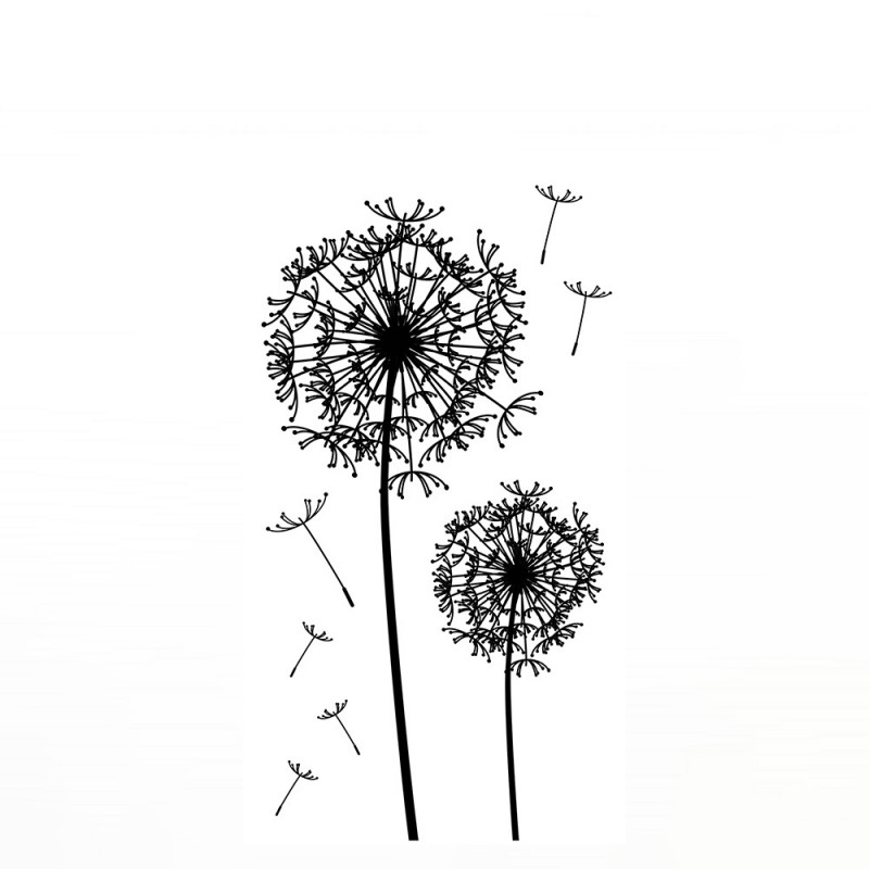 wandsticker no 4654 pusteblume schwarz wei dandelion. Black Bedroom Furniture Sets. Home Design Ideas