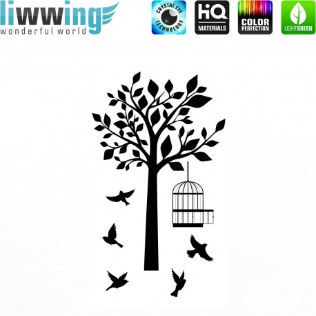 Wandsticker - No. 4655 Wandtattoo Wandaufkleber Sticker Wohnzimmer Baum Natur Vogel Vögel Vogelkäfig Park