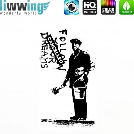 Wandsticker - No. 4656 Wandtattoo Wandaufkleber Sticker Wohnzimmer Banksy Streetart Graffiti London Straßenkunst Maler