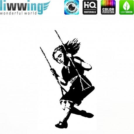 Wandsticker - No. 4657 Wandtattoo Wandaufkleber Sticker Wohnzimmer Banksy Streetart Graffiti London Straßenkunst Schaukel