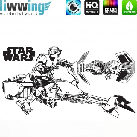 Wandsticker Disney Star Wars - No. 4668 Wandtattoo Wandaufkleber Sticker Kinderzimmer Laserschwert Weltall Raumschiffe Jungen