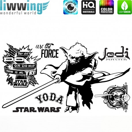 Wandsticker Disney Star Wars - No. 4671 Wandtattoo Wandaufkleber Sticker Kinderzimmer Laserschwert Weltall Raumschiffe Jungen
