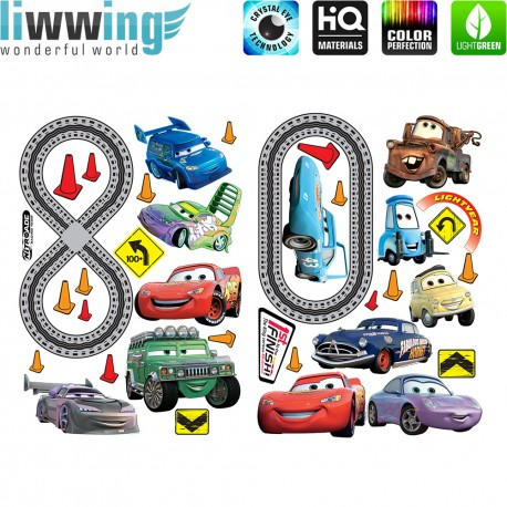 Wandsticker Disney Cars - No. 4700 Wandtattoo Wandaufkleber Sticker Auto Kindersticker Lightning McQueen Nitro Jungen