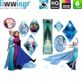 Wandsticker Disney Frozen - No. 4715 Wandtattoo Wandaufkleber Sticker Eiskönigin Schneemann Olaf Elsa Anna Kindersticker Mädchen