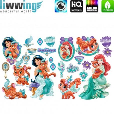 Wandsticker Disney Palace Pets - No. 4716 Wandtattoo Wandaufkleber Sticker Cartoon Tiere Pferd Hund Katze Krone Prinzessin