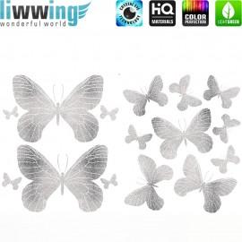 Wandsticker - No. 4732 Wandtattoo Wandaufkleber Sticker Schmetterlinge Tiere Falter Glitzer silber Glitter