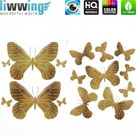 Wandsticker - No. 4733 Wandtattoo Wandaufkleber Sticker Schmetterlinge Tiere Falter Glitzer gold Glitter