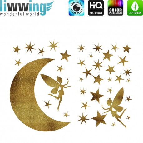 Wandsticker - No. 4738 Wandtattoo Wandaufkleber Sticker Mond Sterne Fee Feenstaub Glitzersticker gold Glitter