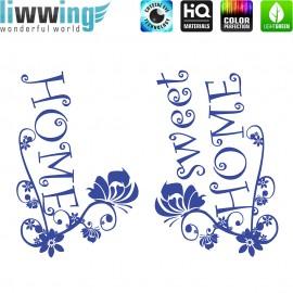 Wandsticker - No. 4755 Wandtattoo Wandaufkleber Sticker Sweet Home Text Schmetterling Blüten