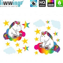 Wandsticker - No. 4767 Wandtattoo Wandaufkleber Sticker Einhorn Unicorn Pony Sterne Regenbogen bunt Kinderzimmer