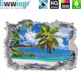 Wandsticker - No. 4768 Wandtattoo Wandaufkleber Sticker Durchblick Durchbruch Aussicht Strand Palmen Beach Meer Sea