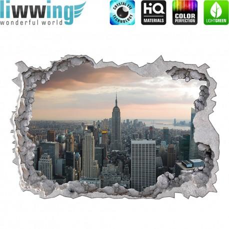 Wandsticker - No. 4775 Wandtattoo Wandaufkleber Sticker Durchblick Durchbruch Aussicht Skyline Hochhaus