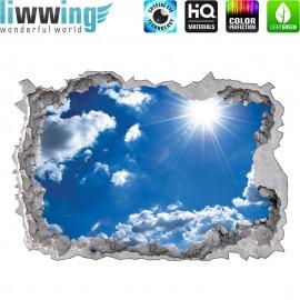 Wandsticker - No. 4776 Wandtattoo Wandaufkleber Sticker Durchblick Durchbruch Aussicht Wolken Himmes Sonne