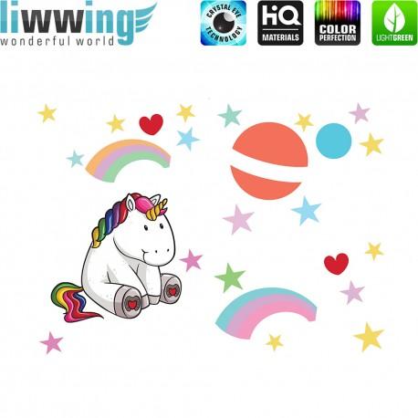 Wandsticker - No. 4777 Wandtattoo Wandaufkleber Sticker Einhorn Unicorn Pony Herzen Regenbogen Mond Sterne