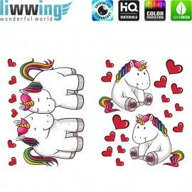 Wandsticker - No. 4783 Wandtattoo Wandaufkleber Sticker Einhorn Unicorn Pony Herzen Regenbogen