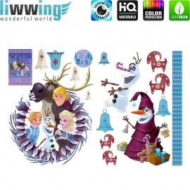 Wandsticker Disney Frozen - No. 4851 Wandtattoo Sticker Frozen Eiskönigin Schneemann Olaf Elsa Anna Kindersticker Mädchen