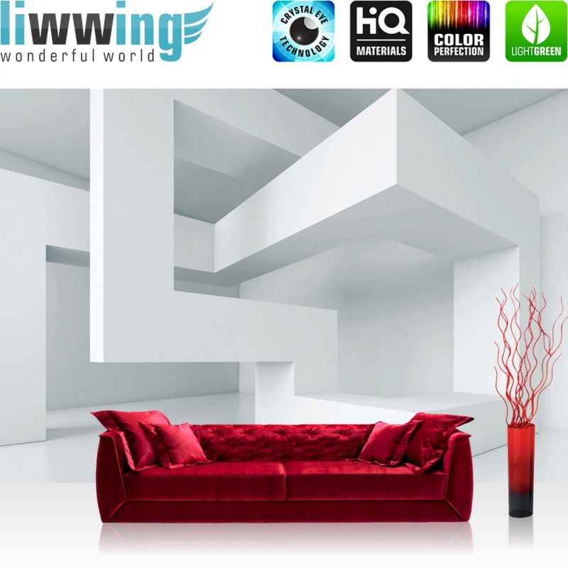 vlies fototapete no 592 3d tapete abstrakt linien ecken 3d wei. Black Bedroom Furniture Sets. Home Design Ideas