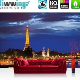 PREMIUM Fototapete - no. 983 | Paris Eifelturm Fluss Nacht Lightning