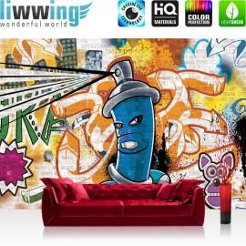 "Vlies Fototapete ""no. 340"" | Graffiti Tapete Kindertapete Dose Sprayer bunt"