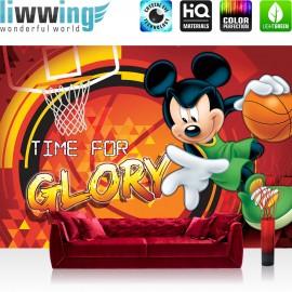 "Vlies Fototapete ""no. 317"" | Disney Tapete Micky Maus Kindertapete Cartoon Comic Basketball Club House rot | liwwing (R)"