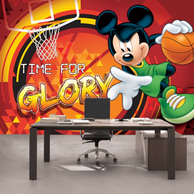 vlies fototapete no 317 disney tapete micky maus kindertapete cartoon comic basketball. Black Bedroom Furniture Sets. Home Design Ideas