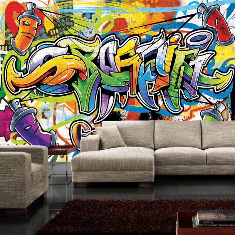 graffiti tapete jugendzimmer vlies fototapete tapeten xxl. Black Bedroom Furniture Sets. Home Design Ideas