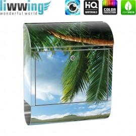 Design XXL Edelstahlbriefkasten mit Wandbefestigung & Zeitungsrolle   Strand Meer Palmen Beach 3D Ozean Palme   no. 0004