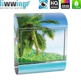 Design XXL Edelstahlbriefkasten mit Wandbefestigung & Zeitungsrolle   Strand Meer Palmen Beach 3D Ozean Palme   no. 0005