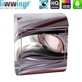 Design XXL Edelstahlbriefkasten mit Wandbefestigung & Zeitungsrolle | 3D Digital Art Abstrakt Schwung blau rot lila | no. 0010