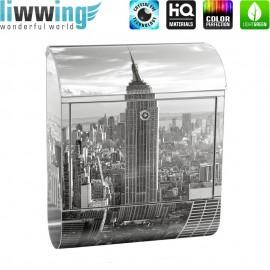 Design XXL Edelstahlbriefkasten mit Wandbefestigung & Zeitungsrolle | New York City USA Amerika Empire State Building | no. 0015