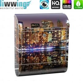 Design XXL Edelstahlbriefkasten mit Wandbefestigung & Zeitungsrolle   New York City USA Amerika Empire State Building   no. 0020