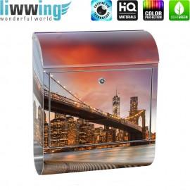 Design XXL Edelstahlbriefkasten mit Wandbefestigung & Zeitungsrolle   New York City USA Amerika Empire State Building   no. 0021