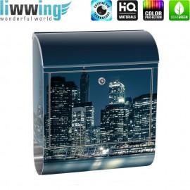 Design XXL Edelstahlbriefkasten mit Wandbefestigung & Zeitungsrolle   New York City USA Amerika Empire State Building   no. 0022