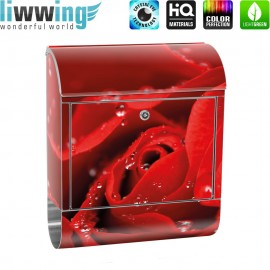 Design XXL Edelstahlbriefkasten mit Wandbefestigung & Zeitungsrolle   Blumen Rose Blüten Natur Liebe Love Blüte   no. 0024