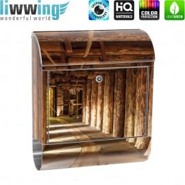 Design XXL Edelstahlbriefkasten mit Wandbefestigung & Zeitungsrolle   Salzbergwerk Holz Bergwerk Balken 3D Tunnel   no. 0027