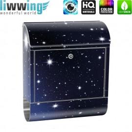 Design XXL Edelstahlbriefkasten mit Wandbefestigung & Zeitungsrolle | Sternenhimmel Stars Sterne Nachthimmel | no. 0028