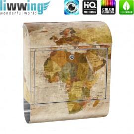 Design XXL Edelstahlbriefkasten mit Wandbefestigung & Zeitungsrolle | Weltkarte Antik Atlaskarte alte Karte Atlas | no. 0029