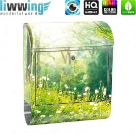Design XXL Edelstahlbriefkasten mit Wandbefestigung & Zeitungsrolle   Wald Bäume Natur Baum grün   no. 0030