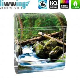 Design XXL Edelstahlbriefkasten mit Wandbefestigung & Zeitungsrolle   Wald Wasserfall Natur Baum grün   no. 0031