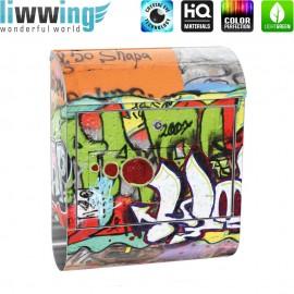 Design XXL Edelstahlbriefkasten mit Wandbefestigung & Zeitungsrolle | Kinderzimmer Graffiti Streetart Sprayer 3D bunt | no. 0032