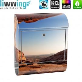 Design XXL Edelstahlbriefkasten mit Wandbefestigung & Zeitungsrolle   Berg Landschaft Natur Mesa Arch Canyon Bergwelt Berge   no. 0034