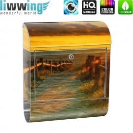 Design XXL Edelstahlbriefkasten mit Wandbefestigung & Zeitungsrolle | Sonnenaufgang Strand Meer Felsen Sunset | no. 0064