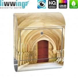 Design XXL Edelstahlbriefkasten mit Wandbefestigung & Zeitungsrolle | Arkaden 3D Perspektive Gewölbe Säulen Spanien | no. 0065