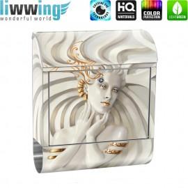 Design XXL Edelstahlbriefkasten mit Wandbefestigung & Zeitungsrolle | Frau Erotik Gold elegant 3D | no. 0045