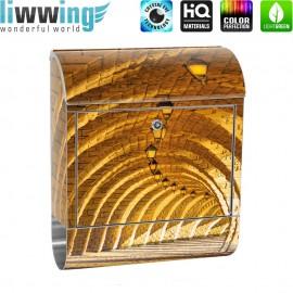 Design XXL Edelstahlbriefkasten mit Wandbefestigung & Zeitungsrolle   Arkaden 3D Gewölbe Säulen Sandstein Stein   no. 0066