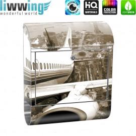 Design XXL Edelstahlbriefkasten mit Wandbefestigung & Zeitungsrolle | Skyline Flugzeug Urlaub braun sephia | no. 0048