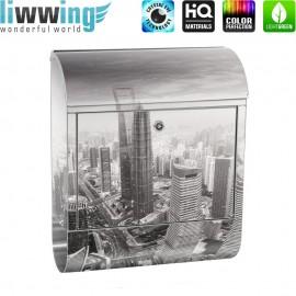 Design XXL Edelstahlbriefkasten mit Wandbefestigung & Zeitungsrolle | Skyline Shanghai Wolkenkratzer Hochhäuser | no. 0049