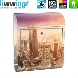 Design XXL Edelstahlbriefkasten mit Wandbefestigung & Zeitungsrolle   Skyline Shanghai Wolkenkratzer Hochhäuser   no. 0050