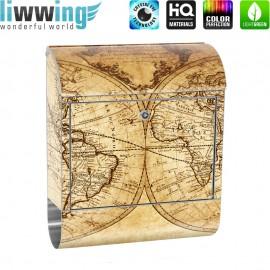 Design XXL Edelstahlbriefkasten mit Wandbefestigung & Zeitungsrolle | Weltkarte Atlas Vintage alte Karte | no. 0076