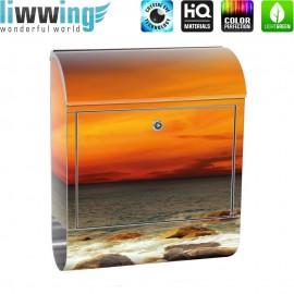 Design XXL Edelstahlbriefkasten mit Wandbefestigung & Zeitungsrolle | Sonnenaufgang Strand Meer Felsen Sunset | no. 0060